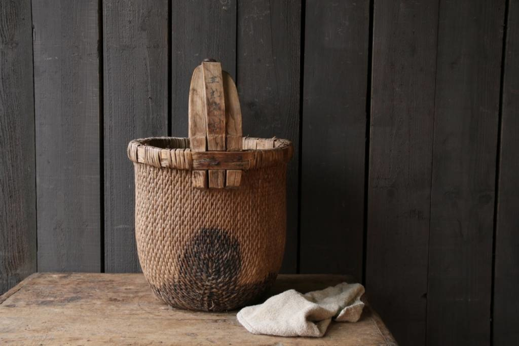 Oude Authentieke Wicker mand-7