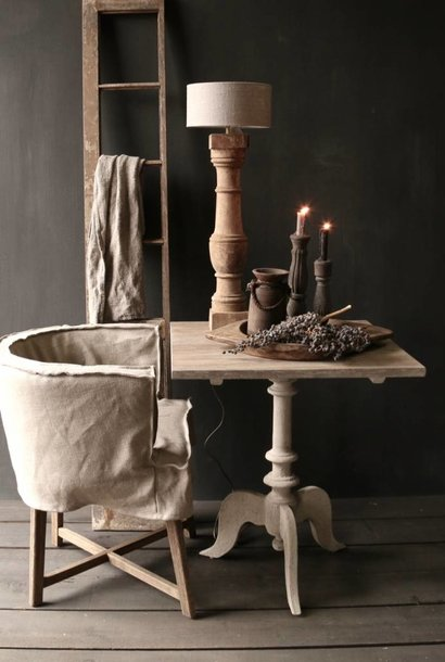 Wine table with mat gray leg and gray oak square leaf