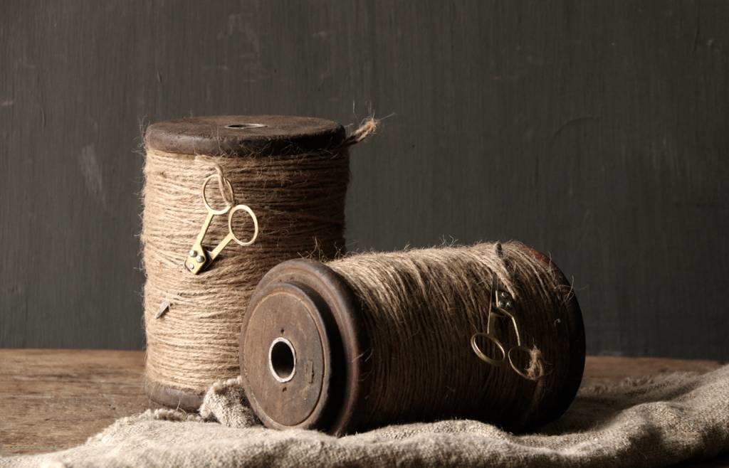 Houten XL Spoel met touw en schaartje-2