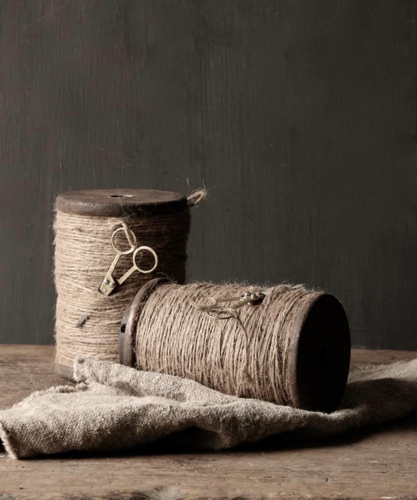Houten XL Spoel met touw en schaartje-3