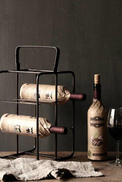 Ijzeren wijnrek met handvat