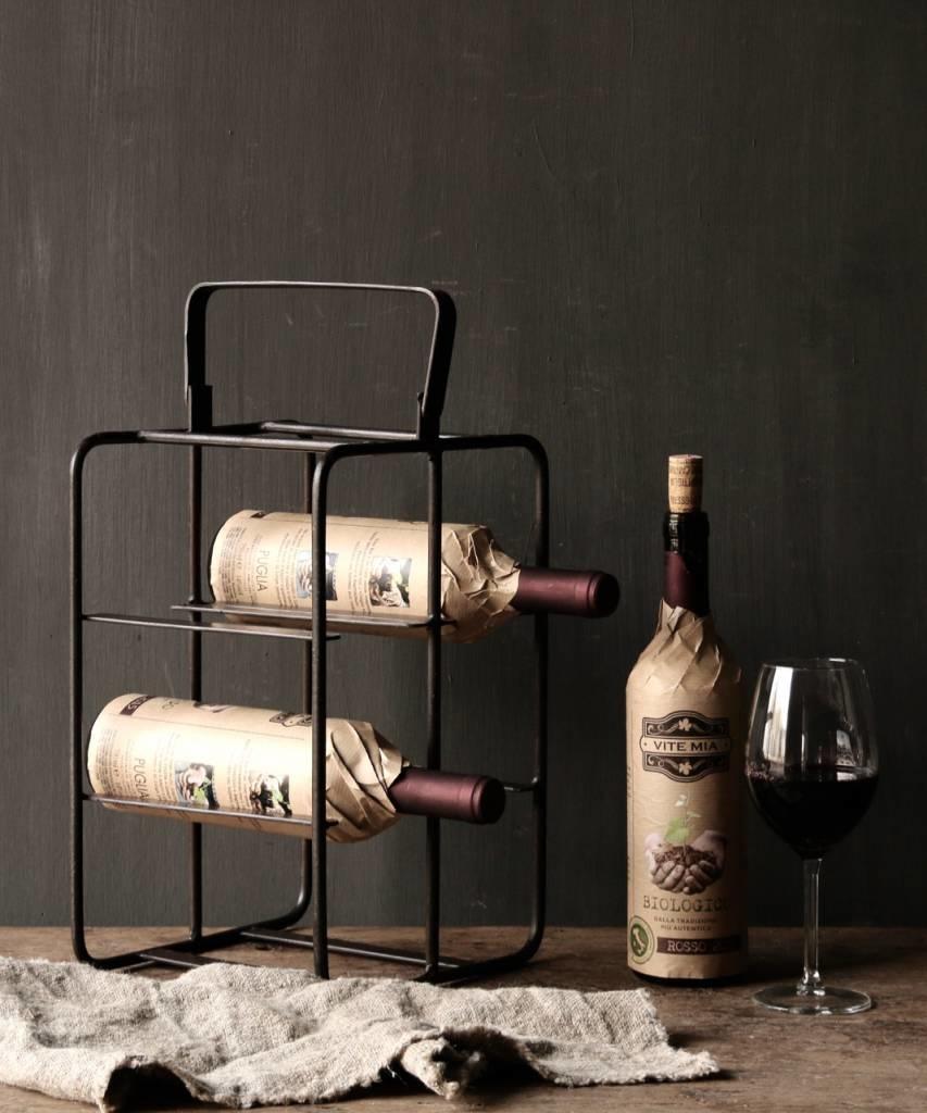 Ongebruikt Ijzeren wijnrek met handvat - HerbersLifestyle TD-27