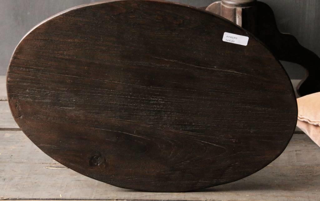 Donker houten Wijntafeltje met ovaal blad-4