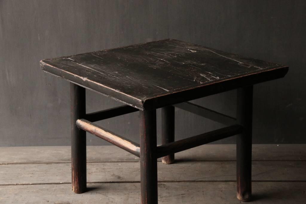 Oud Authentiek houten Salon/bijzet Tafeltje vierkant Uniek item-3