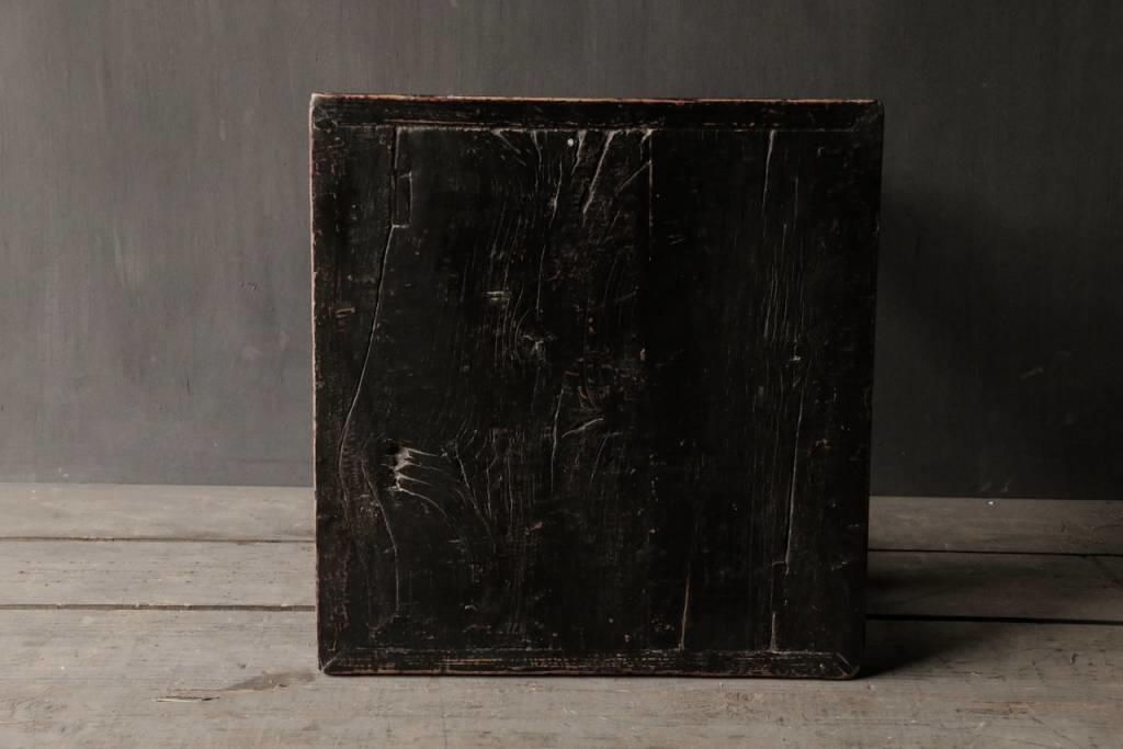 Oud Authentiek houten Salon/bijzet Tafeltje vierkant Uniek item-6