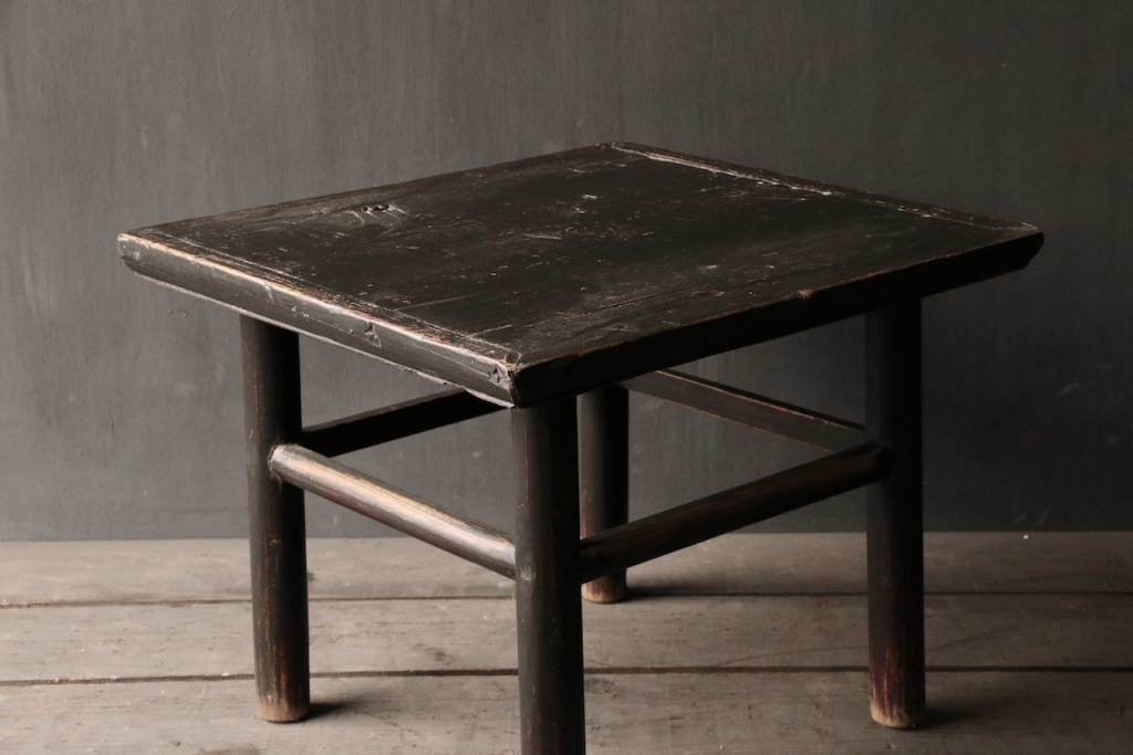 Oud Authentiek houten Salon/bijzet Tafeltje vierkant Uniek item-7