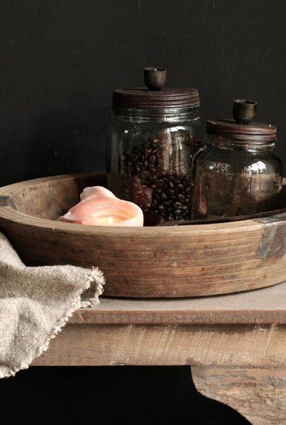 Vorratsglas / Kerzenhalter mit rostbraunem Schraubdeckel