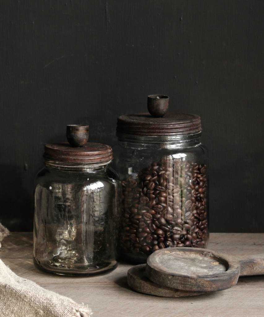 Oude glazen voorraad potje /kandelaar met roestbruin  schroef deksel-2