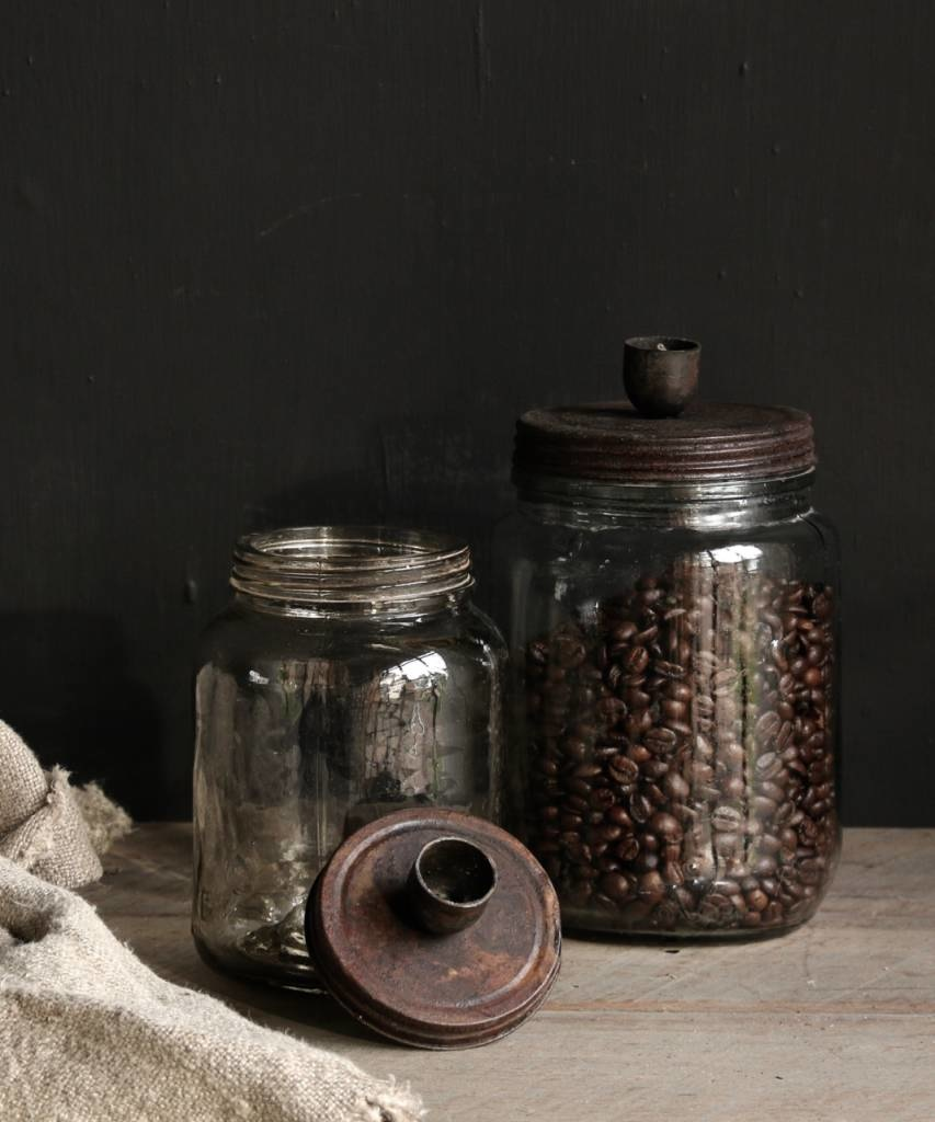 Old glass storage jar / candlestick with rusty brown screw lid-3