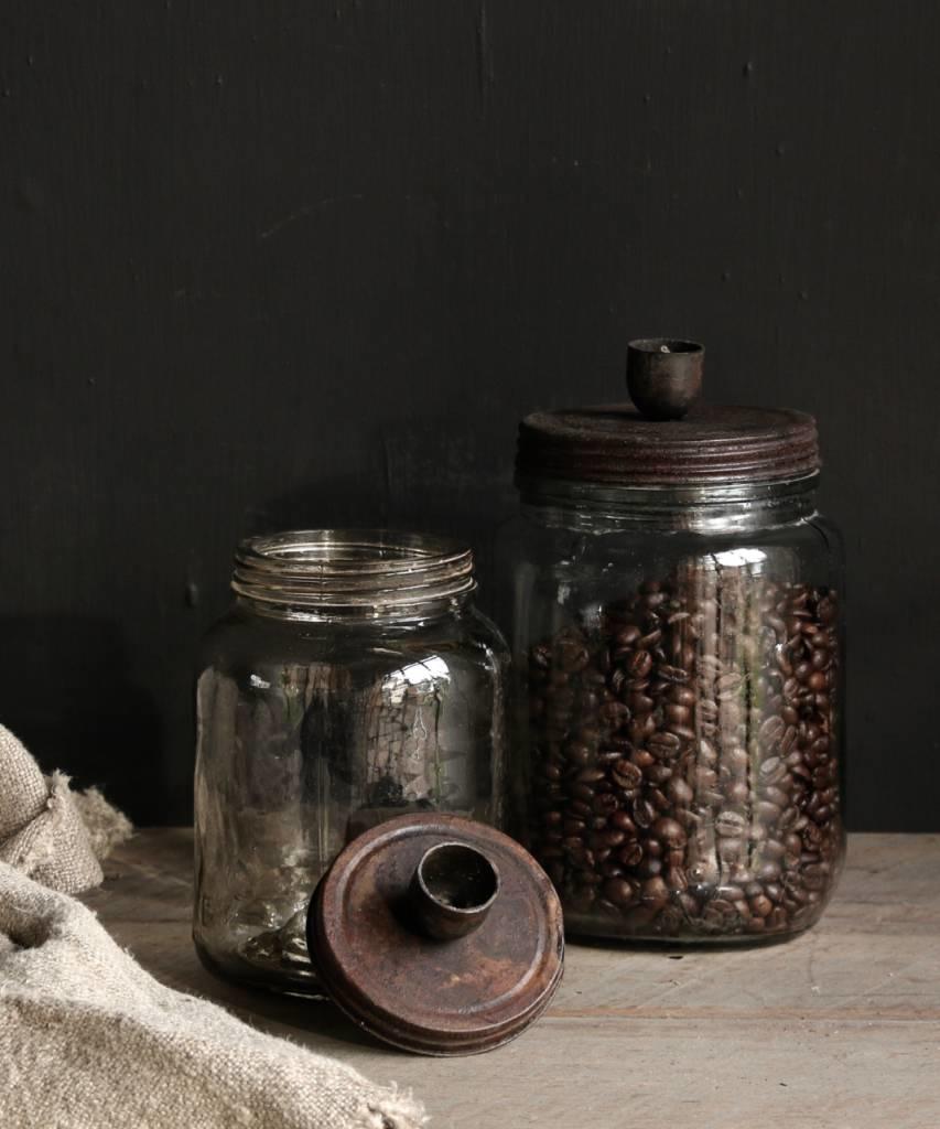 Oude glazen voorraad potje /kandelaar met roestbruin  schroef deksel-3