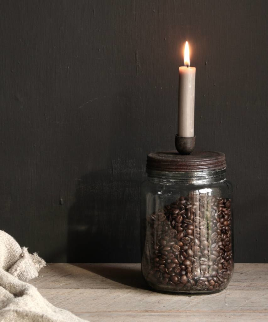 Old glass storage jar / candlestick with rusty brown screw lid-4
