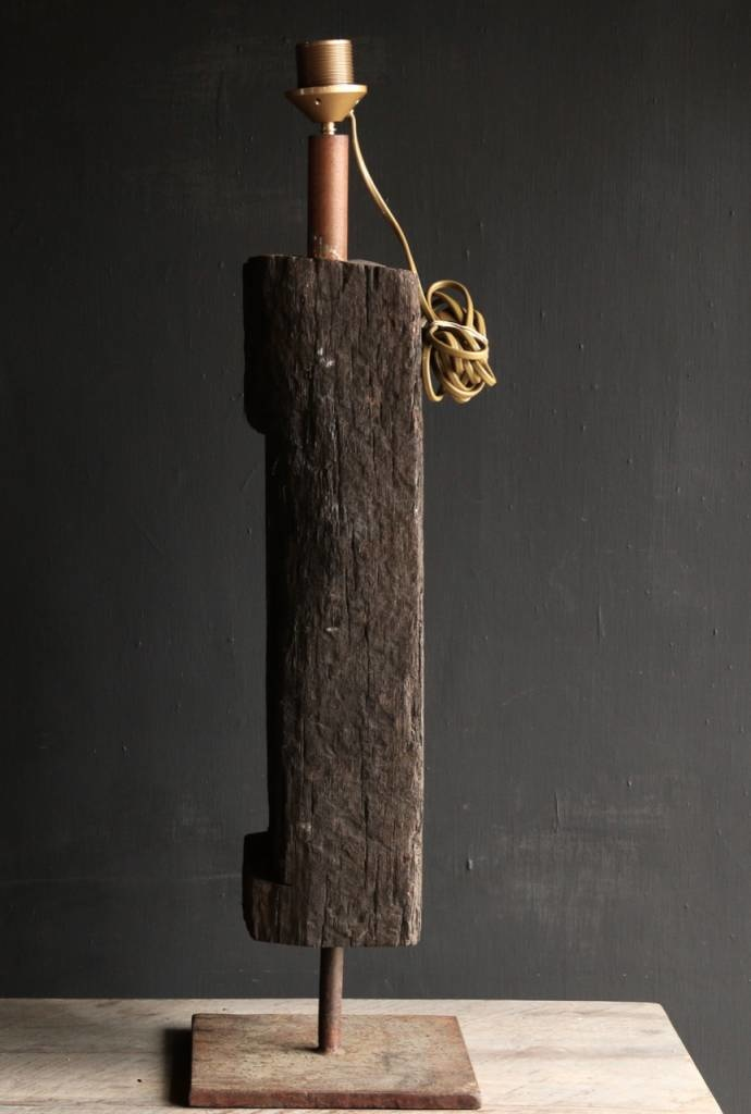 Tough Table lamp of old wood on an iron base-2