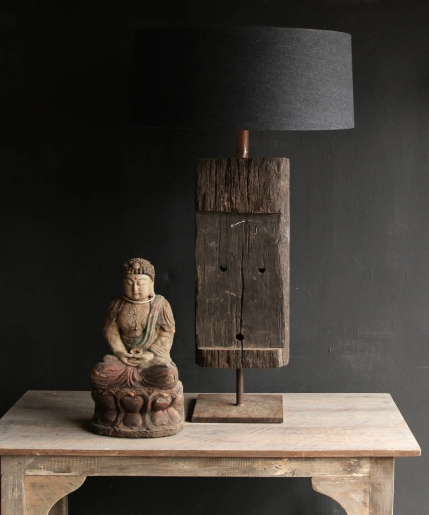 Tough Table lamp of old wood on an iron base-3