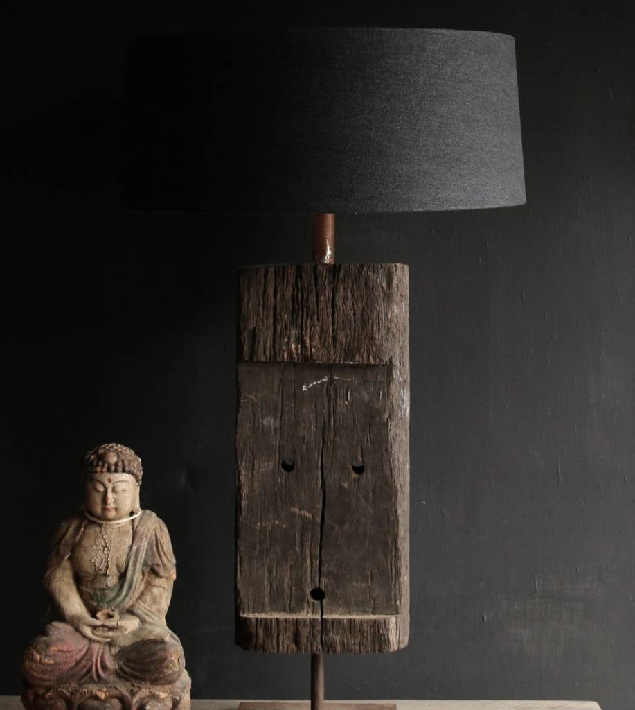 Tough Table lamp of old wood on an iron base-4
