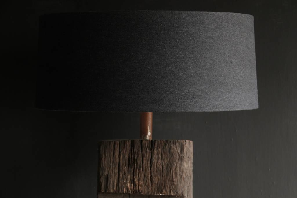 Tough Table lamp of old wood on an iron base-6