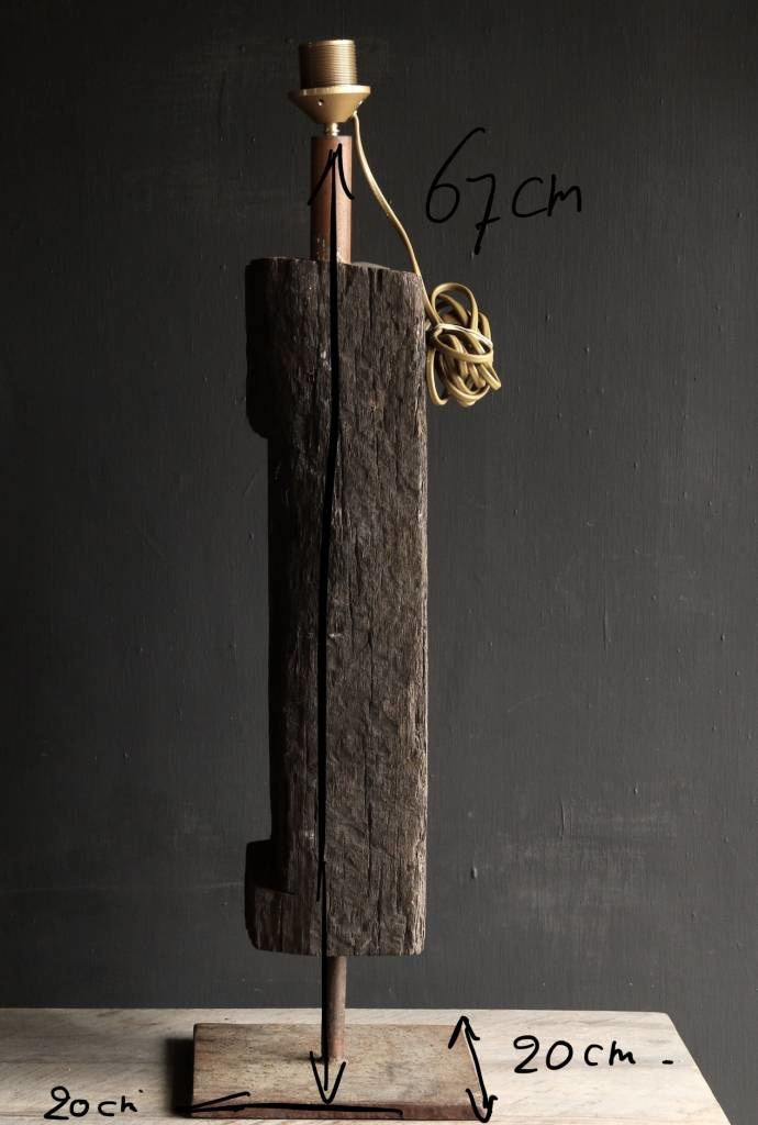Tough Table lamp of old wood on an iron base-7