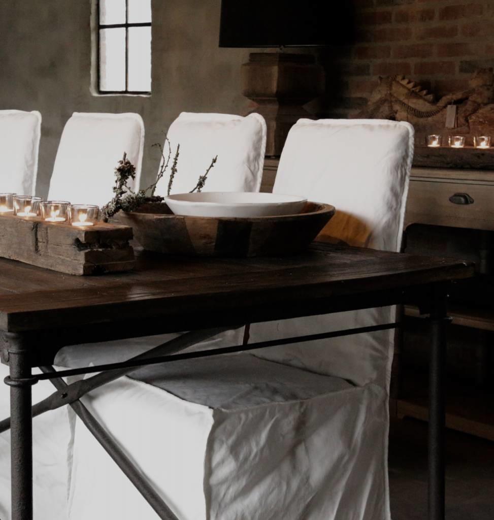 Grote eetkamer tafel met donker driftwood blad en ijzeren onderstel-4