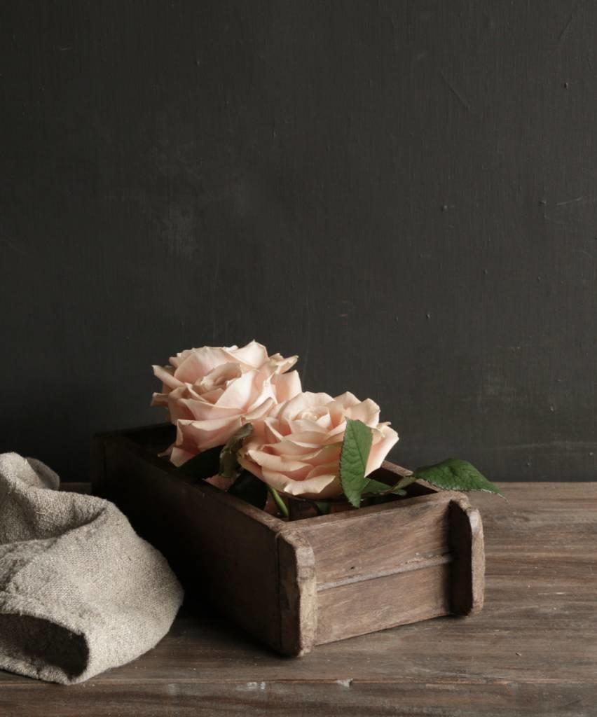 Authentieke houten Steenmal  inclusief  drie waxine  glaasjes-3