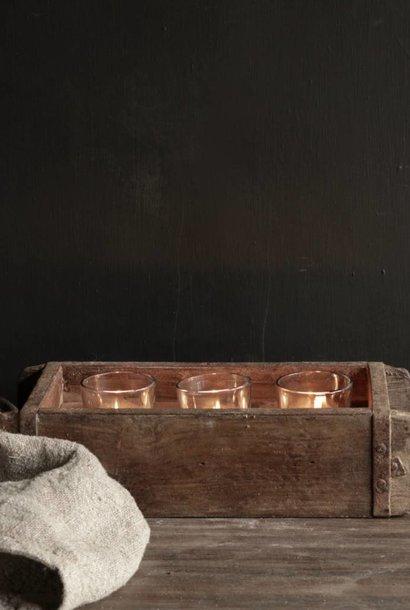 Authentieke houten Steenmal  brickmold inclusief  drie waxine  glaasjes