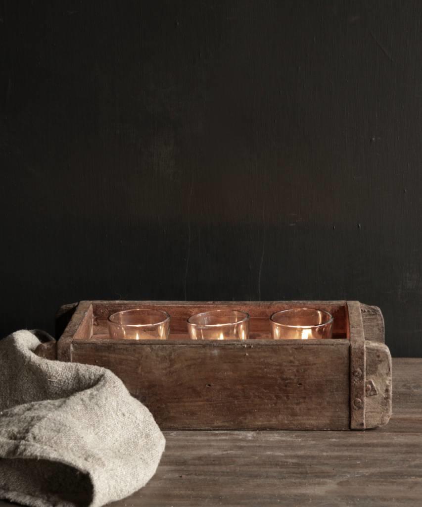 Authentieke houten Steenmal  inclusief  drie waxine  glaasjes-1