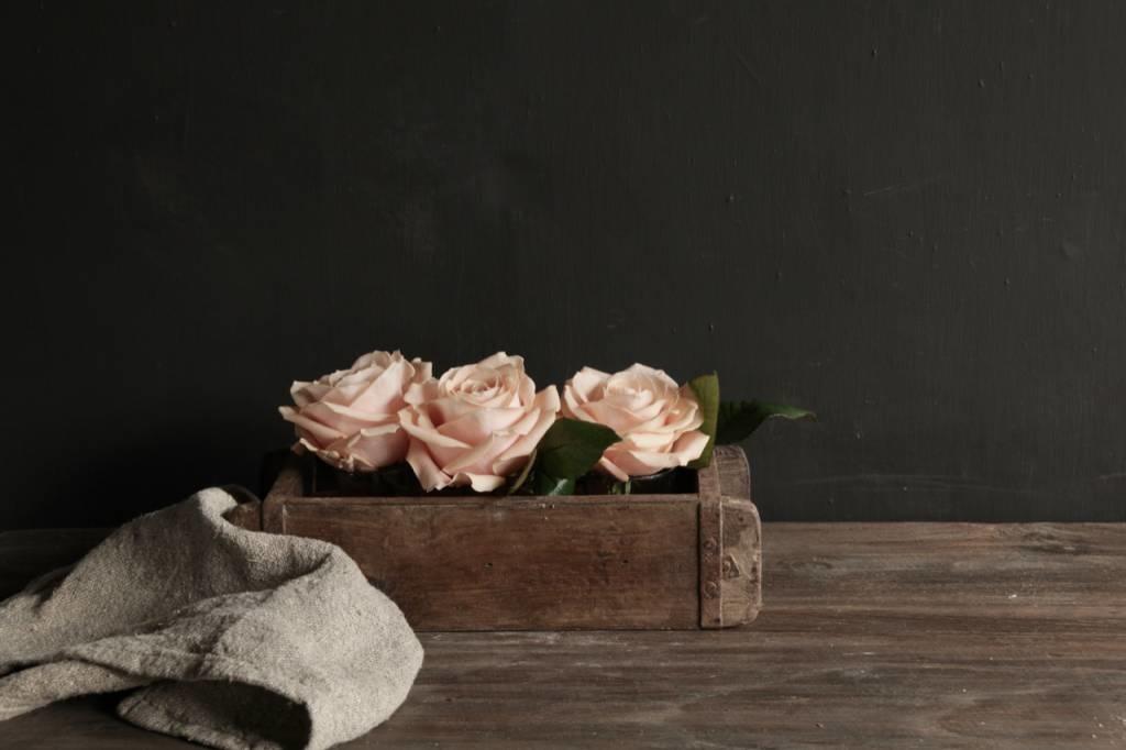 Authentieke houten Steenmal  inclusief  drie waxine  glaasjes-4