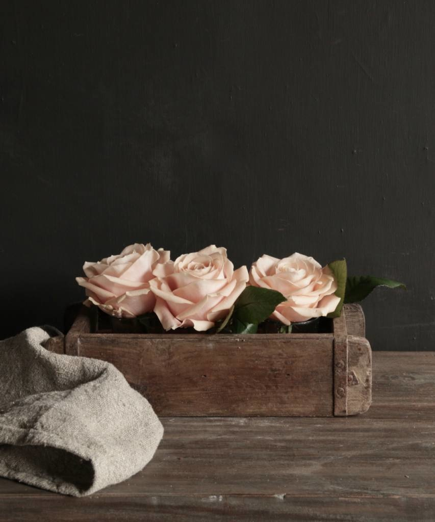 Authentieke houten Steenmal  inclusief  drie waxine  glaasjes-5