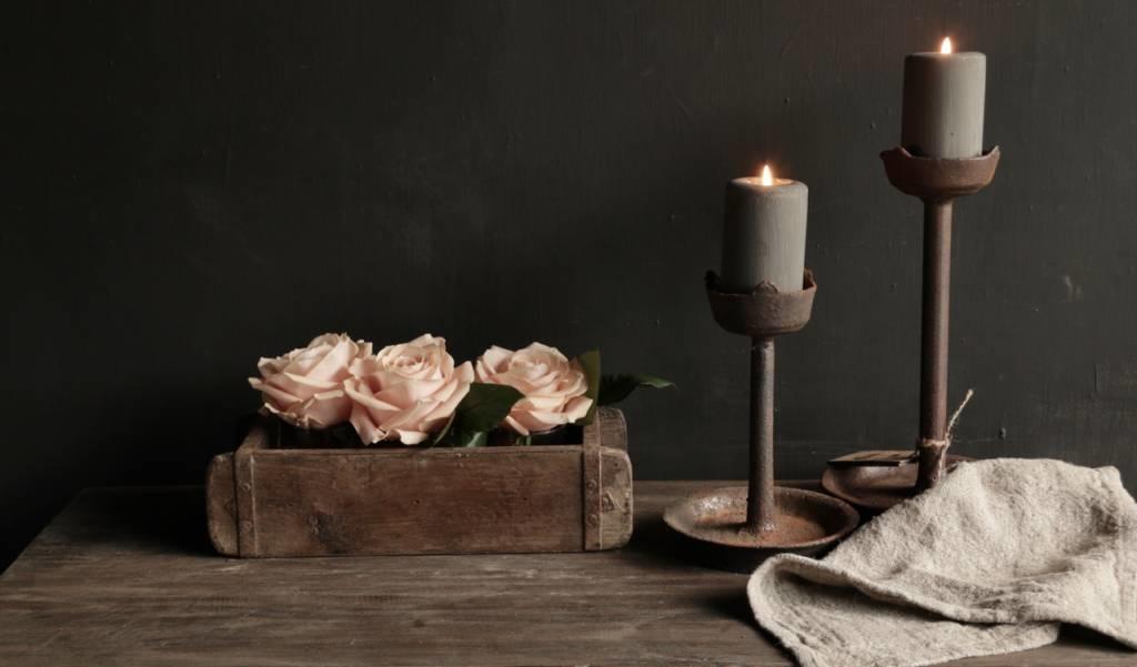 Authentieke houten Steenmal  inclusief  drie waxine  glaasjes-6