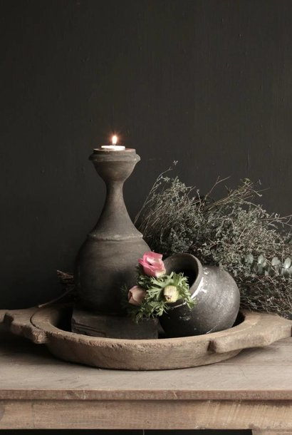 Tough old wooden ball / block candlestick