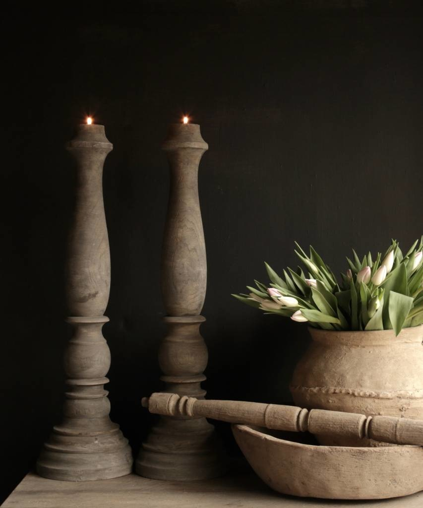 Tough old wooden candlestick-1