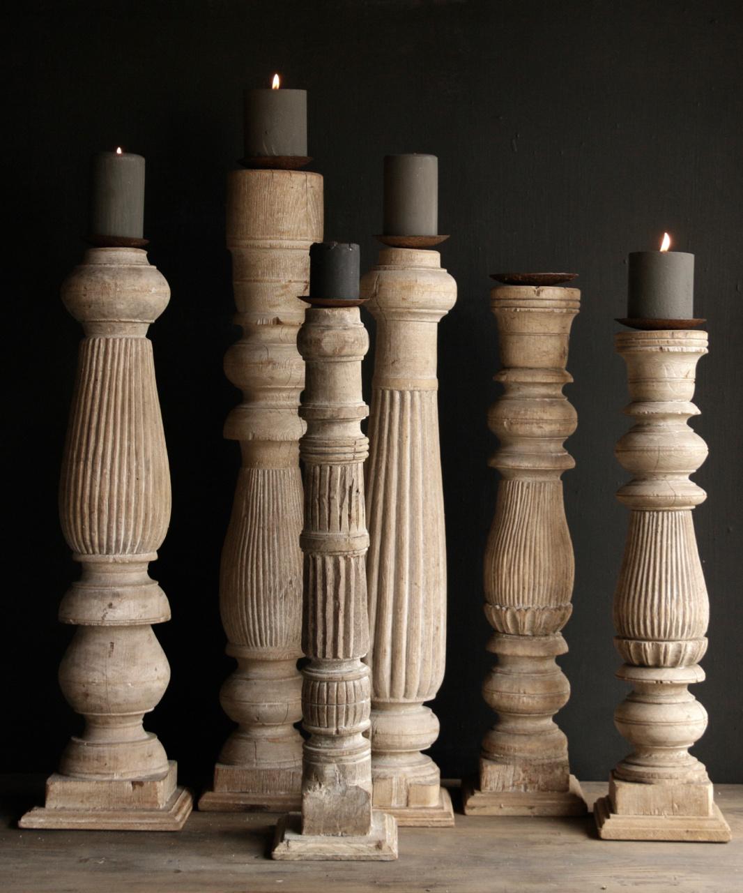 Oude Houten Tafelpoten.Deze Kandelaar Is Gemaakt Van Oude Houten Tafelpoten Afkomstig Uit Indie
