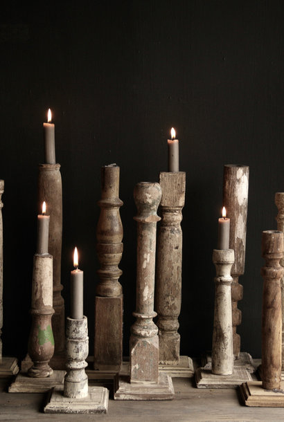 Old wooden Nepalese candlesticks