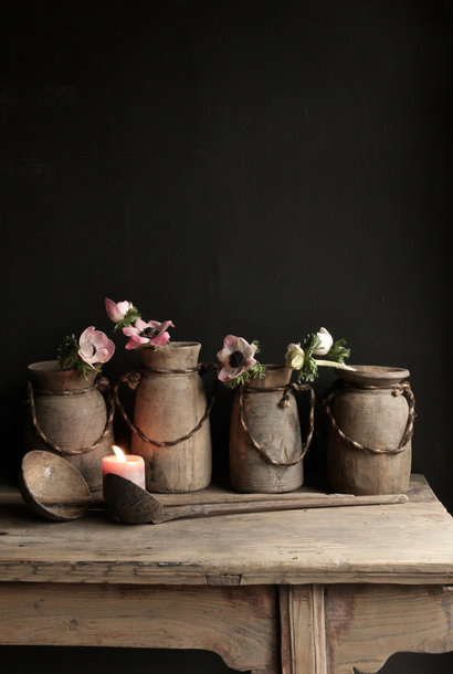 Old wooden Nepalese Jugs