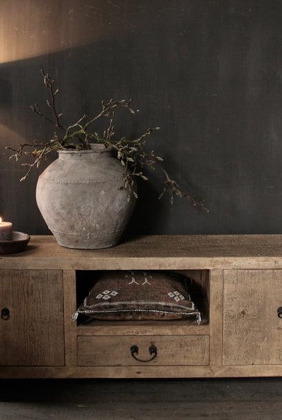 *Verkocht* Prachtig Stoer elmwood houten Dressoir/TV kast