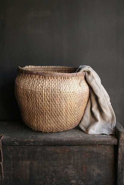 Unique old authentic large wicker basket