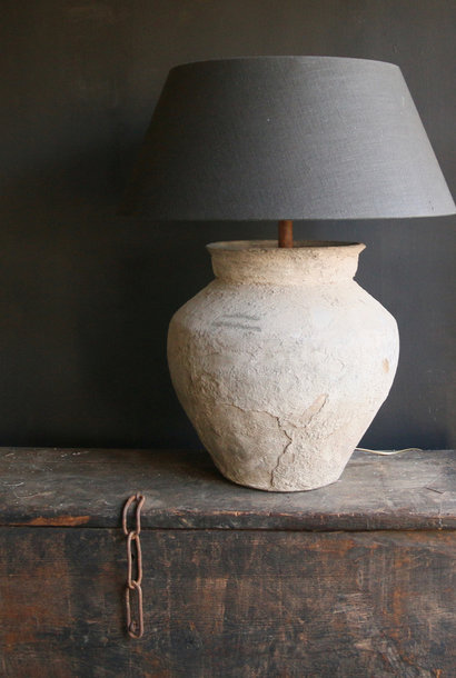 Jug lamp made from an old authentic Indian water jug