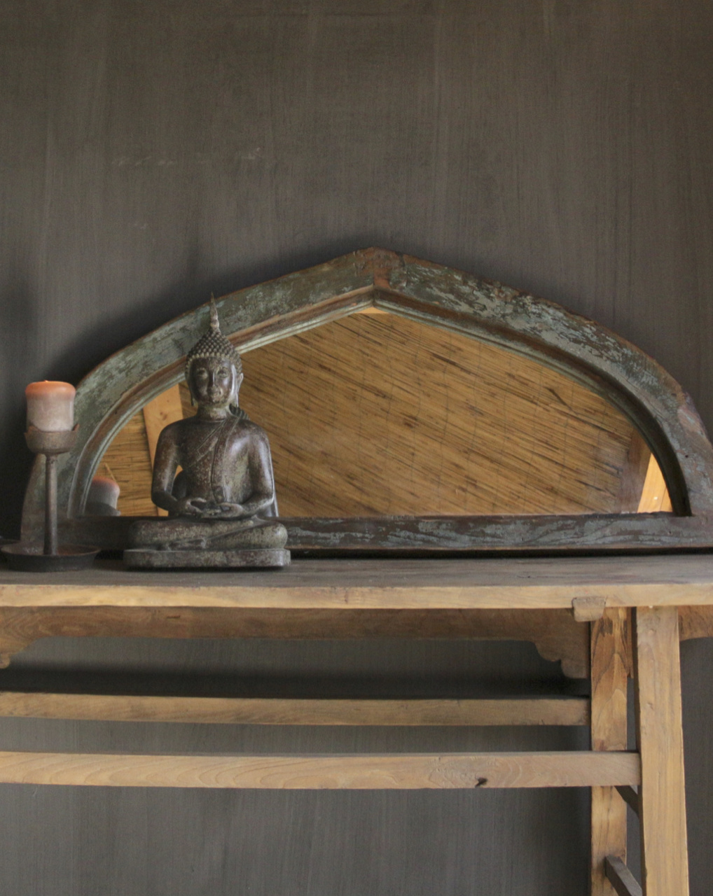 Mirror of sturdy wooden Indian window frame in the shape of a triangle-1