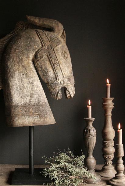 Prachtig Groot houten paarden hoofd op standaard