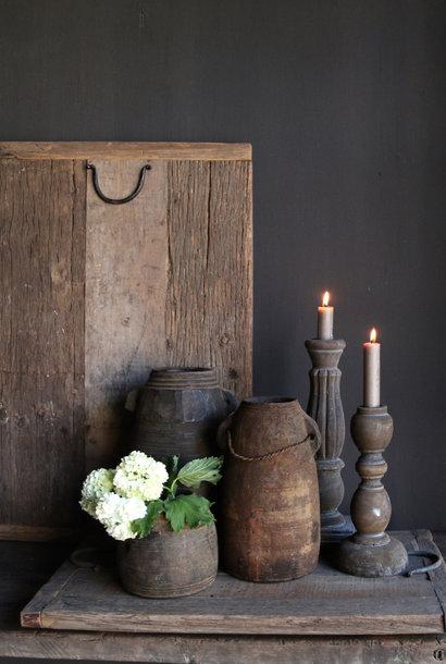 Oud driftwood / railway houten dienblad met ijzeren handgreepjes