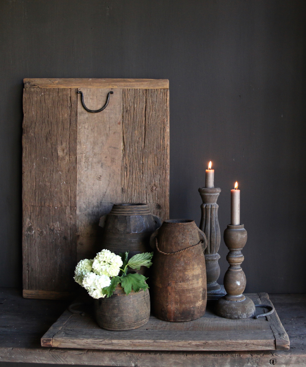 Old driftwood / railway wooden tray with iron handles-1