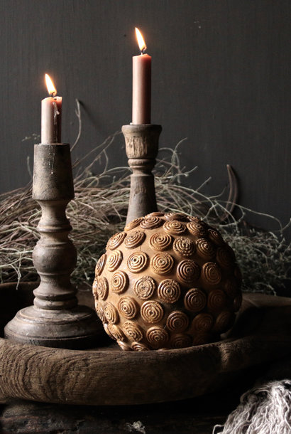 Tough wooden ball with iron decoration