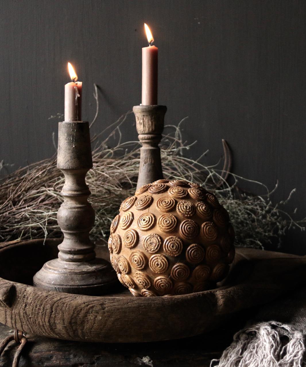 Tough wooden ball with iron decoration-1