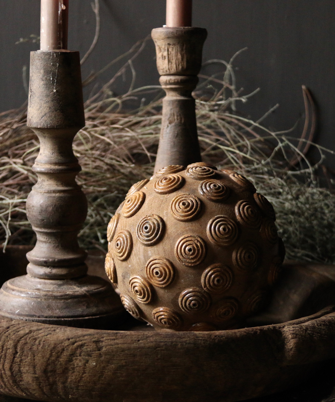 Tough wooden ball with iron decoration-2