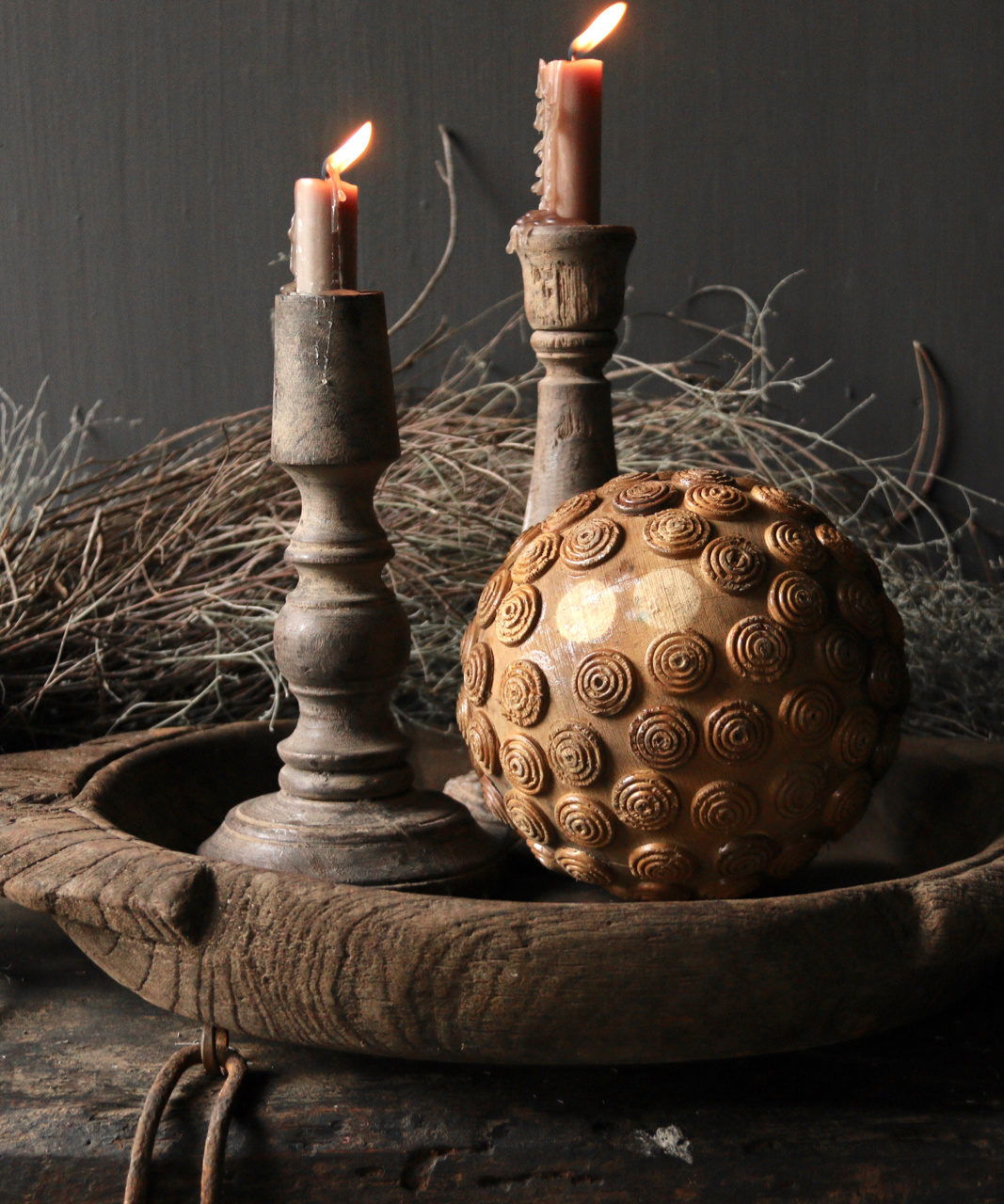 Tough wooden ball with iron decoration-3