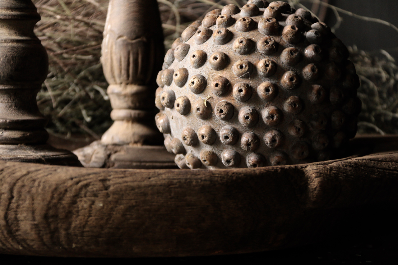 Tough wooden ball with wooden studs-3