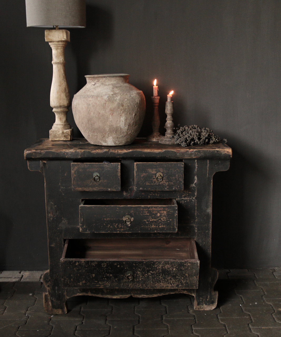 Oud Authentiek houten lade kastje-5