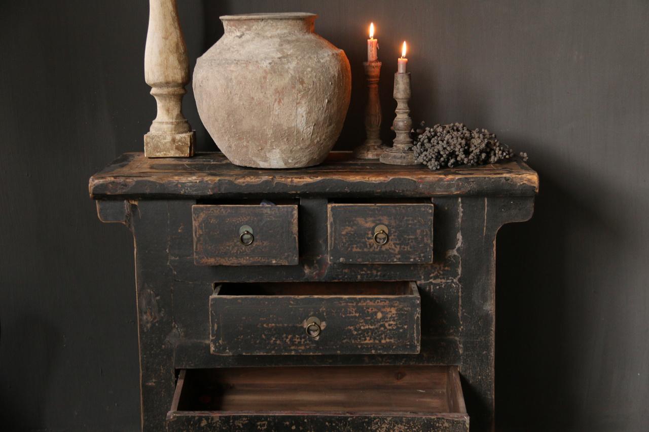 Oud Authentiek houten lade kastje-2