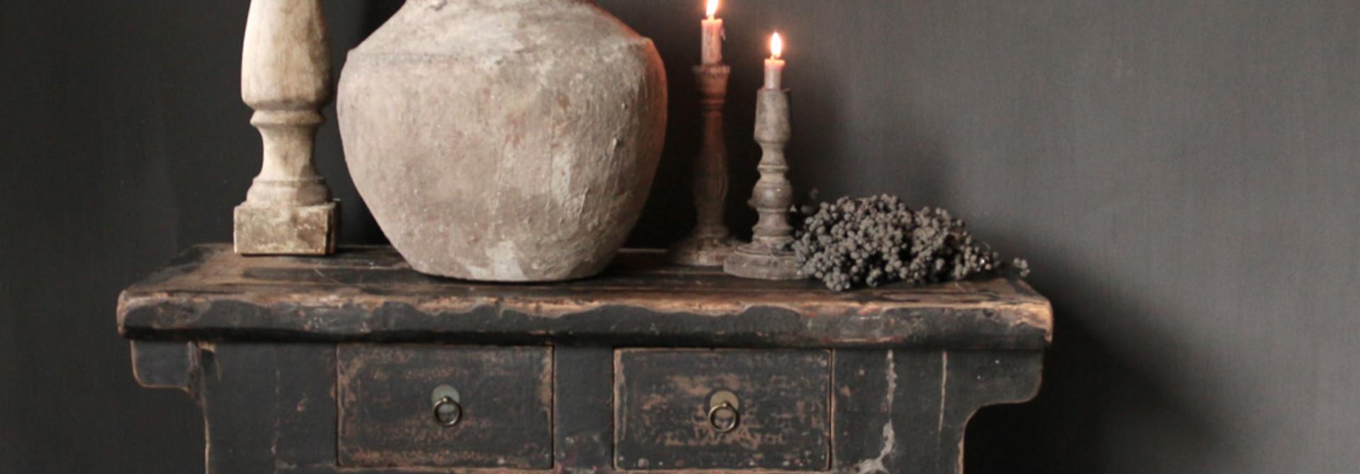 Oud Authentiek houten lade kastje