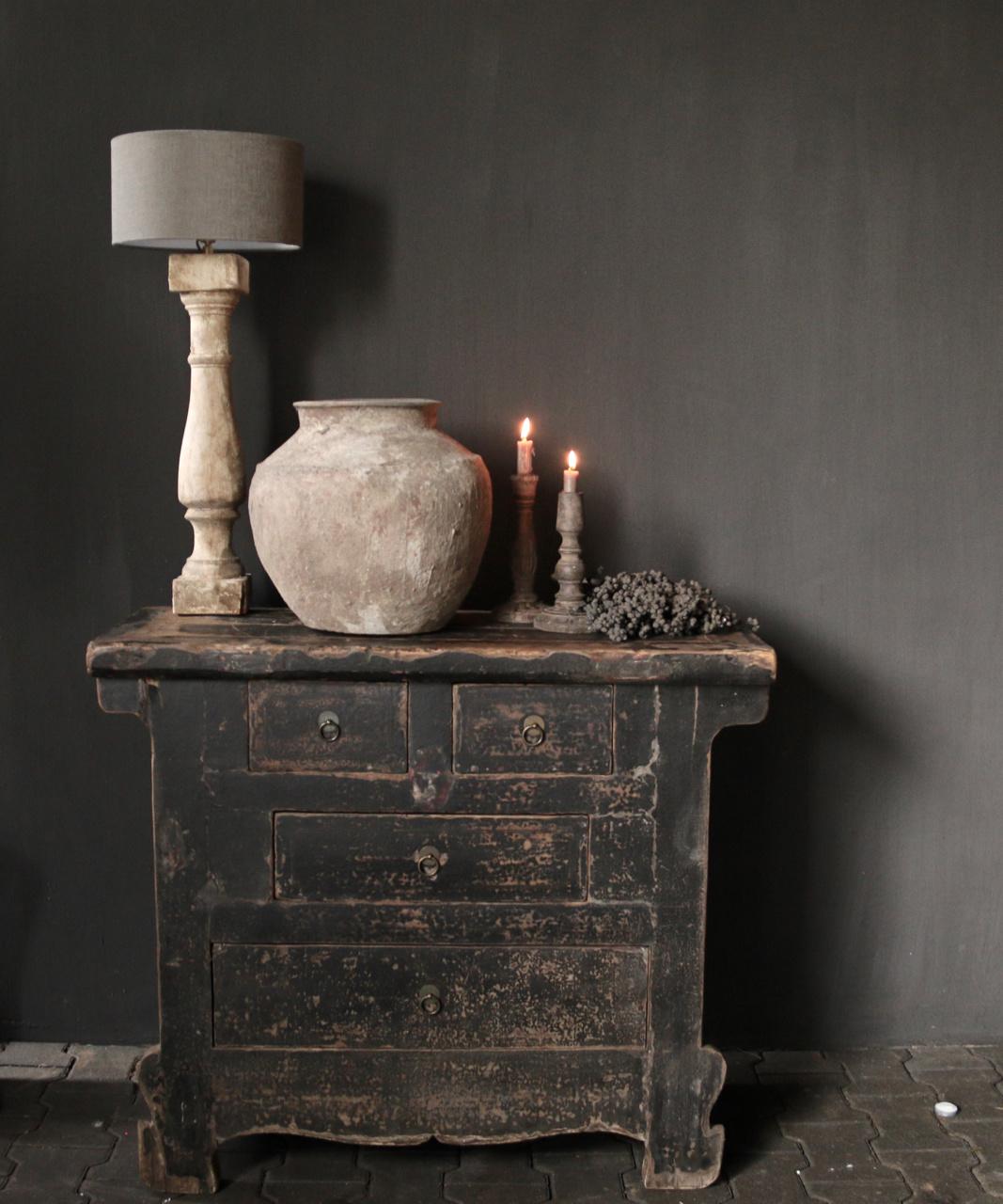 Oud Authentiek houten lade kastje-1