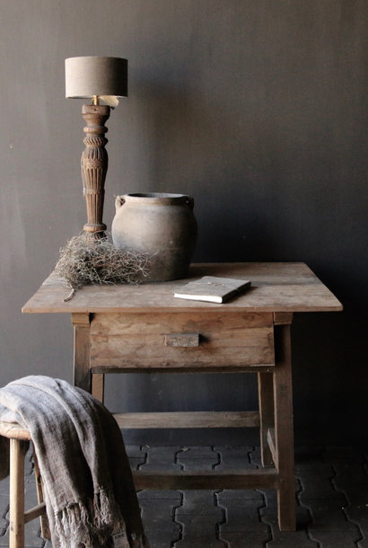 Tough old Sidetable / wall table old wood with a drawer
