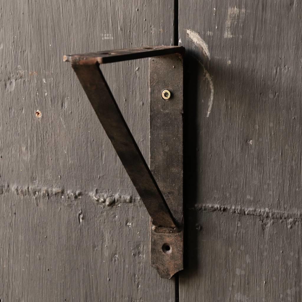 Oud driftwood houten wandplank/ muur plank  met ijzeren steunen 140cm-5
